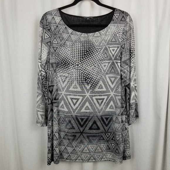 cable & gauge top size XL black white geometric